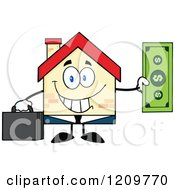 Happy Home Businessman Mascot Holding A Dollar Bill