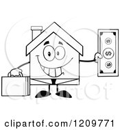 Cartoon Of A Black And White Happy Home Businessman Mascot Holding A Dollar Bill Royalty Free Vector Clipart