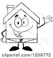 Cartoon Of A Black And White Happy Home Businessman Mascot Waving Royalty Free Vector Clipart