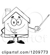Cartoon Of A Black And White Happy Home Businessman Mascot Holding A Pointer Stick Royalty Free Vector Clipart