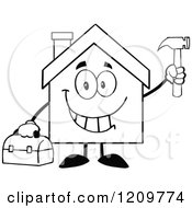 Cartoon Of A Black And White Happy Home Mascot Holding A Tool Box And Hammer Royalty Free Vector Clipart