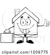 Cartoon Of A Black And White Happy Home Businessman Mascot Holding A Thumb Up Royalty Free Vector Clipart