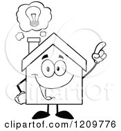 Cartoon Of A Black And White Happy Home Mascot With An Idea Royalty Free Vector Clipart