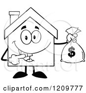 Cartoon Of A Black And White Happy Home Mascot Holding A Money Bag Royalty Free Vector Clipart