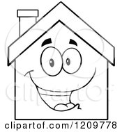 Cartoon Of A Black And White Happy Home Mascot Royalty Free Vector Clipart