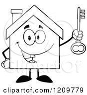 Cartoon Of A Black And White Happy Home Mascot Holding A Key Royalty Free Vector Clipart