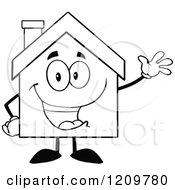 Cartoon Of A Black And White Happy Home Mascot Waving Royalty Free Vector Clipart