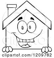 Cartoon Of A Black And White Happy Home Mascot Smiling Over A Sign Royalty Free Vector Clipart