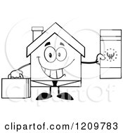Cartoon Of A Black And White Happy Home Businessman Mascot Holding A Euro Bill Royalty Free Vector Clipart