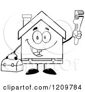 Cartoon Of A Black And White Happy Home Mascot Plumber Holding A Monkey Wrench And Tool Box Royalty Free Vector Clipart by Hit Toon