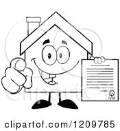 Cartoon Of A Black And White Happy Home Mascot Holding A Contract And Pointing Outwards Royalty Free Vector Clipart