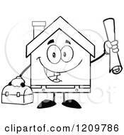 Black And White Happy Home Mascot Worker Holding Blueprints And A Tool Box