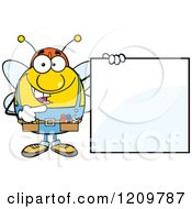 Cartoon Of A Happy Worker Bee Mascot Holding A Sign Royalty Free Vector Clipart