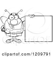 Cartoon Of A Black And White Happy Worker Bee Mascot Holding A Sign Royalty Free Vector Clipart
