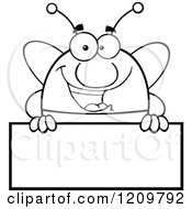 Cartoon Of A Black And White Happy Bee Mascot Over A Sign Royalty Free Vector Clipart