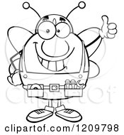 Cartoon Of A Black And White Happy Worker Bee Mascot Holding Thumb Up Royalty Free Vector Clipart