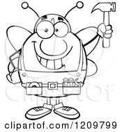 Cartoon Of A Black And White Happy Worker Bee Mascot Holding Up A Hammer Royalty Free Vector Clipart