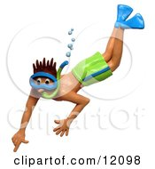 Clay Sculpture Of Man Snorkeling In Green Shorts Clipart Picture
