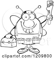 Cartoon Of A Black And White Happy Worker Bee Mascot Plumber Holding Up A Monkey Wrench Royalty Free Vector Clipart by Hit Toon