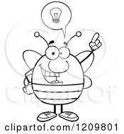 Cartoon Of A Black And White Smart Bee With A Lightbulb And Idea Royalty Free Vector Clipart