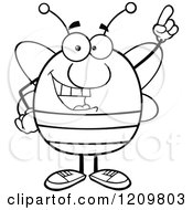 Cartoon Of A Black And White Happy Bee With An Idea Royalty Free Vector Clipart