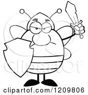 Cartoon Of A Black And White Mad Bee Warrior Holding A Shield And Sword Royalty Free Vector Clipart