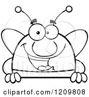 Cartoon Of A Black And White Happy Bee Over A Sign Royalty Free Vector Clipart