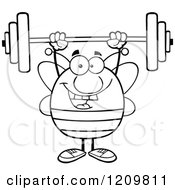 Cartoon Of A Black And White Happy Bee Lifting A Barbell Royalty Free Vector Clipart
