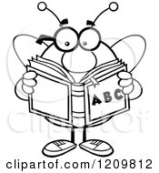 Cartoon Of A Black And White Bee Student Reading An Alphabet Book Royalty Free Vector Clipart