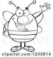Cartoon Of A Black And White Happy Bee Waving Royalty Free Vector Clipart