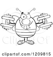 Cartoon Of A Black And White Happy Bee Working Out With Dumbbells Royalty Free Vector Clipart