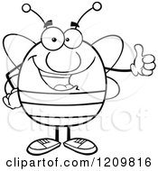 Cartoon Of A Happy Bee Holding A Thumb Up Royalty Free Vector Clipart