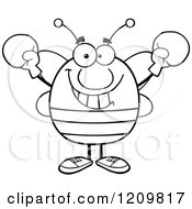 Cartoon Of A Happy Bee Holding Up Boxing Gloves Royalty Free Vector Clipart