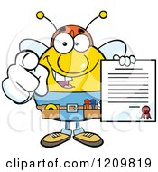 Cartoon Of A Happy Worker Bee Mascot Holding A Contract And Pointing Outwards Royalty Free Vector Clipart