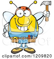 Cartoon Of A Happy Worker Bee Mascot Holding Up A Hammer Royalty Free Vector Clipart
