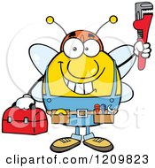 Cartoon Of A Happy Worker Bee Mascot Plumber Holding Up A Monkey Wrench Royalty Free Vector Clipart by Hit Toon