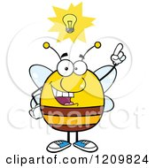 Smart Bee With A Lightbulb And Idea