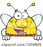 Cartoon Of A Happy Bee Over A Sign Royalty Free Vector Clipart