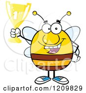 Successful Bee Holding Up A First Place Trophy