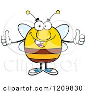 Happy Bee Holding Two Thumbs Up