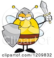 Mad Bee Warrior Holding A Shield And Sword