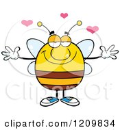 Happy Bee With Hearts And Open Arms