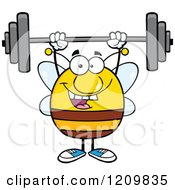 Happy Bee Lifting A Barbell