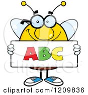 Cartoon Of A Happy Bee Student Holding An Abc Sign Royalty Free Vector Clipart