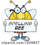 Cartoon Of A Happy Bee Student Holding A Spelling Bee Sign Royalty Free Vector Clipart