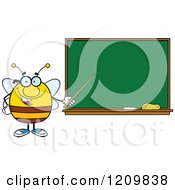 Cartoon Of A Happy Bee Teacher Holding A Pointer Stick To A Chalk Board Royalty Free Vector Clipart