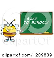 Cartoon Of A Happy Bee Teacher Pointing To Back To School Text On A Chalkboard Royalty Free Vector Clipart