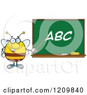 Cartoon Of A Happy Bee Teacher Pointing To ABC On A Chalkboard Royalty Free Vector Clipart