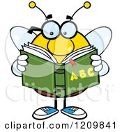 Cartoon Of A Bee Student Reading An Alphabet Book Royalty Free Vector Clipart by Hit Toon