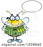 Cartoon Of A Talking Bee Student Reading An Alphabet Book Royalty Free Vector Clipart by Hit Toon